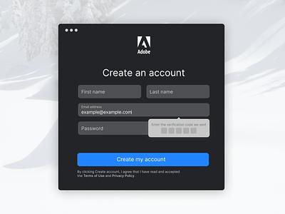 Sign up form for #CreateWithAdobeXD createwithadobexd sign up form modern adobe xd adobe ui sleek mac os app form login sign up