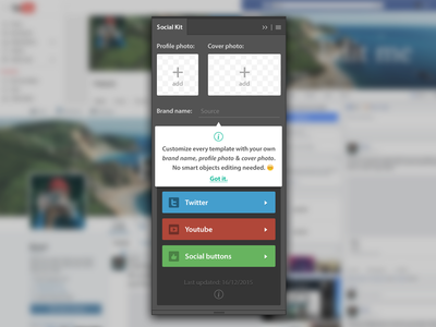 Social Kit Update source update photoshop extension plugin mockup template kit social