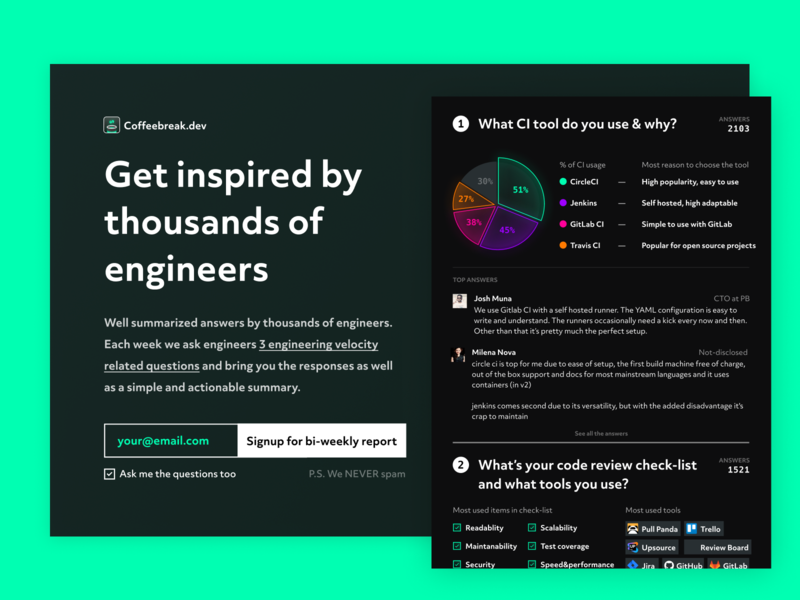 Coffeebreak - Inspired by engineers community teaser engineers signup data graphs statistics landing page