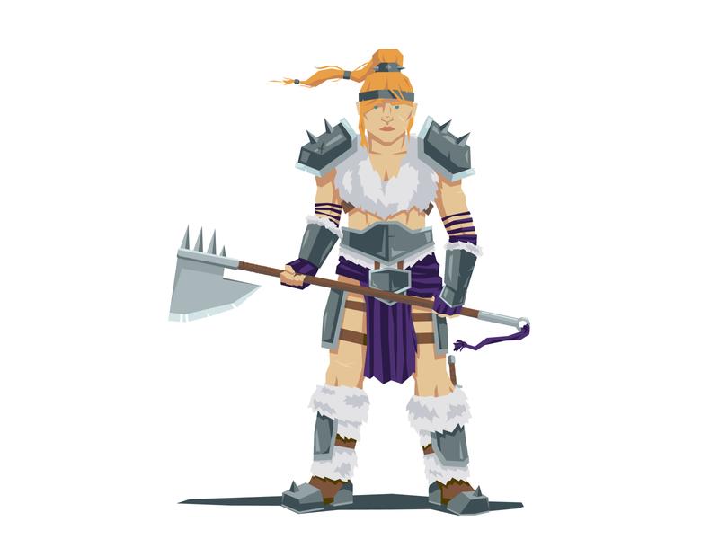 Dwarf Warrior Woman fur character vector illustration ponytail axe warrior woman armor