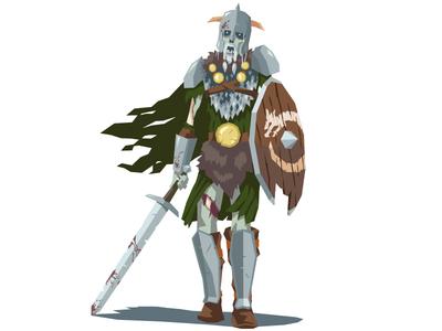 Undead Soldier 2 vector character warrior fantasy sword shield undead armor soldier