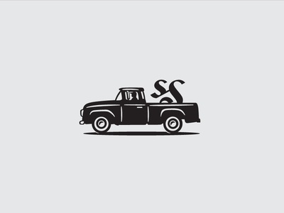 Logo Truck grayscale vector logo truck