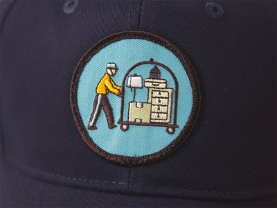 Stuff hotel patch embroidery bellhop self-storage hat patch
