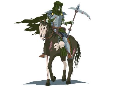 Undead Knight scythe fantasy character vector knight horse undead skull armor
