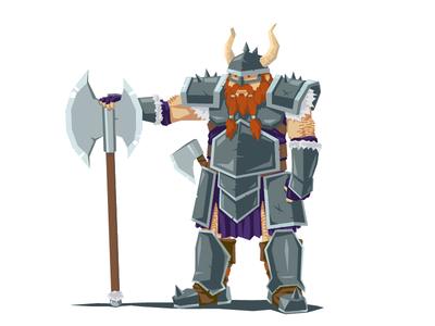 Dwarf warrior horns beard warrior vector axe fantasy character armor dwarf