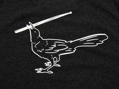 YETI T-Shirt Grackle Drumstick rock white black bird drumstick grackle