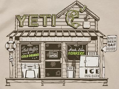 YETI Baitshop neon neon sign ice fish cooler building shack wood yeti
