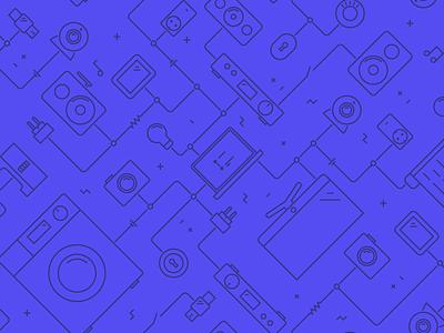 Triggi pattern navigation webcam television lock watch lamp speaker connect lines flat pattern illustration