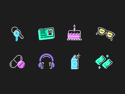 Random Stuff neon fun dark random vector icon line