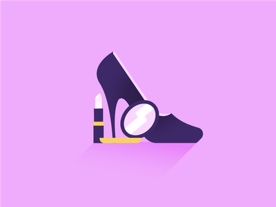 Girl stuff lipstick shoe makeup girl vector illustration