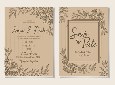 Wedding Invitation Card Floral Sketch