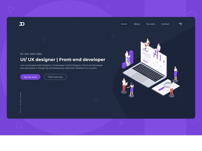 Portfolio HOME page ux design ui desgin webdesign home page landing