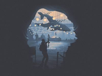 Owen's Place - The Last of Us (3 of 4) whale humpback minimal style silhouette series poster naughtydog aquarium owen abby fanart tlou2 the last of us part 2 the last of us 2