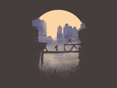 Abby and Lev on the move - The Last of Us 2 (4 of 4) fan art tee design t-shirt illustration screenprint sun skyline heights abby lev bridge poster series fanart tlou2 the last of us part 2