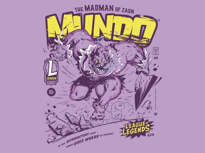MUNDO Comic Inspired League Tees merch riot games super hero graphic tee comic collection tees zaun mundo league of legends