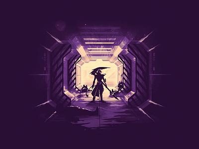 Odyssey Kayn teaser t-shirt tee corridor spaceship morning star videogame riot games league of legends odyssey kayn