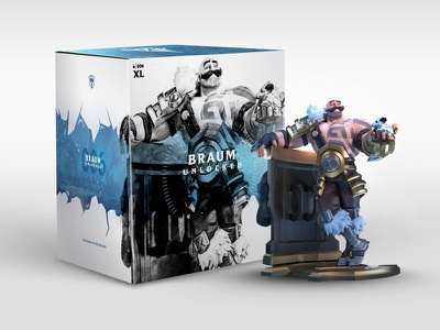 Unlocked Braum Packaging riotgames lol collectible figure statue box art box poro dieline league of legends packaging unlocked braum