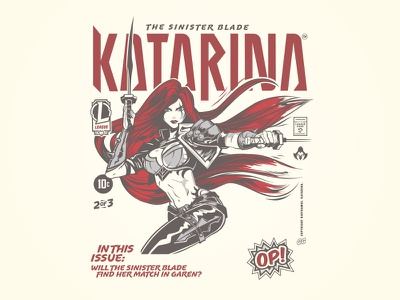 Comic Collection Kat videogame kat katarina collection cover comic hoodie vector illustration t-shirt merch riot games typography league of legends