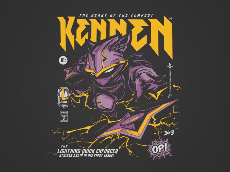 Comic Collection Kennen black hoodie comic book comic art comics op! kennen vector merch tee illustration t-shirt typography riot games league of legends