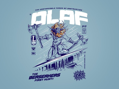 Comic Collection Olaf axe snow league olaf design vector riot games type illustration t-shirt merch typography league of legends