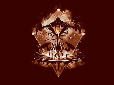 Eater of Worlds vector poster tee design merch t-shirt lair argos illustration destiny raid eater of worlds eater of worlds destiny 2