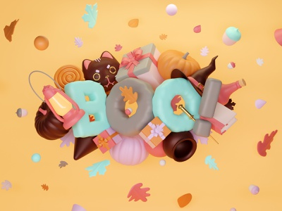 Halloween autumn boo 3d art illustration c4d render blender3d artwork cgi halloween