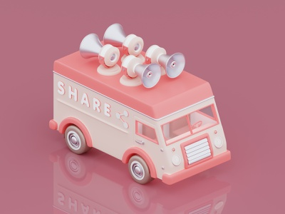 Car share pink van digital art isometric art isometric illustration illustrator 3d illustrator 3d art 3d c4d blender3d blender render