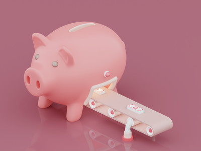 Piggy bank 3d artist designs illustrator money blendercycles blender3d blender design octanerender octane 3d 3d art c4d cinema4d isometric art piggybank pig isometric illustration render