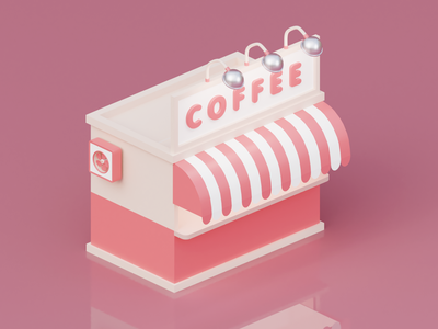 Take away coffee shop blender3d 3d artist shop kiosk colorful creative artwork cinema4d clean coffee minimal 3d art render illustration illustrator digital digitalart digital art c4d 3d