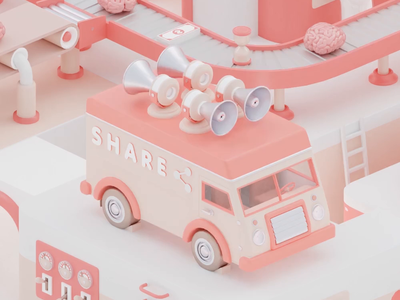 Share machine 3d c4d digital digital art digitalart illustration amusement park 3dart minimal share van clean cinema4d 3dartwork creative colorful 3dartist 3danimation octanerender animation
