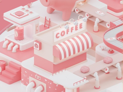 Generator detail #2 3d c4d digital dirigtal art digitalart illustrator amusement park 3d art minimal clean cinema4d 3d artwork creative colorful 3d artist factory blender3d octanerender coffee park