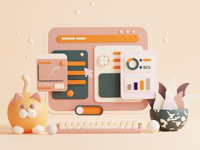 3d site web figma blender c4d colorful illustrator app render minimal icon 3d art design illustration cat 3d ux ui