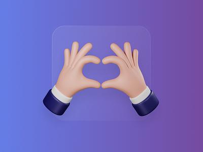 Love gesture 3d hand frostedglass support blender 3d colorful web figma c4d render illustrator illustration app 3d art icon ui ux hand love gesture
