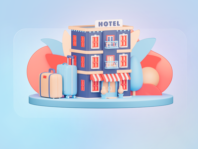 Hotel 3d illustration accomodation hostel trip travel 3d hotel hotel ux ui 3d 3d art icon render app illustration c4d blender colorful figma web photoshop