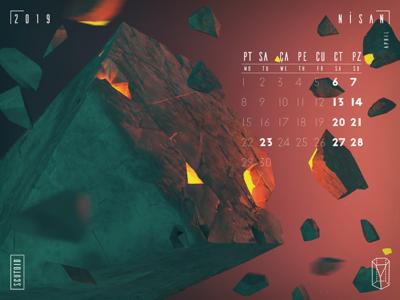 Calendar design for 2019 / April