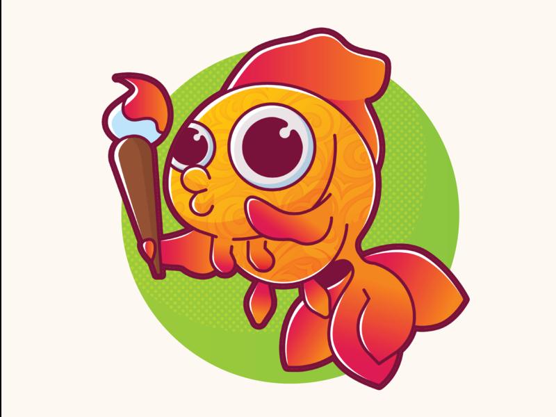Gold Fish logo goldfish fishlogo fish design animals vector illustration character