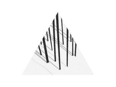 Footsteps minimal forest white black grayscale triangle winter landscape foot footsteps snow trees