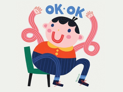 OK OK photoshop happy design midcenturymodern character design colour illustration