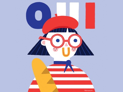 Oui oui photoshop midcenturymodern illustration happy design colour character design