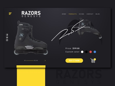 Razors Skate Co. Web icon vector minimal black and yellow website builder razors color adobexd web website concept website design webdesign website ux ui