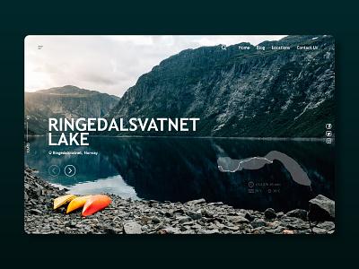 Ringedalsvatnet Lake nature website builder website concept web site service web design website web ux ui product design illustrator flat minimal icon design