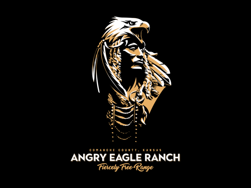 Angry Eagle Ranch adobe illustrator cc vector illustration graphic design logo design warrior hunter
