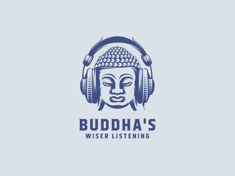 BUDDHA'S WIDER LISTENING vector adobe illustrator graphic design illustration logo design for sale music studio music buddha