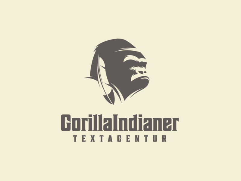 GorillaIndianer communications illustration adobe illustrator vector graphic design logo design for sale gorilla logo gorilla