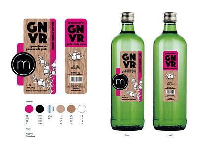 Genever Label for Distillery Massy from Houthalen, Belgium logo typography illustration packaging design branding