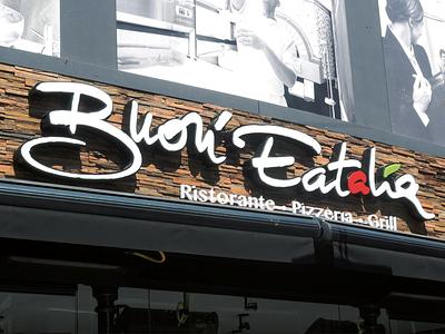Buon' Eatalia Hasselt Illuminated Sign plexiglass sign design sign logo typography branding