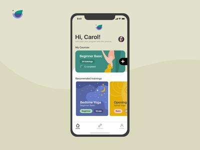 Yoga app main screen