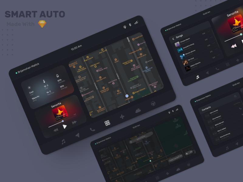 Smart Auto smart smart car car ui smartcar minimal infotainment design