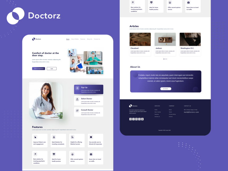 Doctorz - Online Appointment online doctor webdesign health medical booking appointment doctor booking app branding ui minimal design