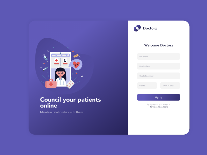Doctors - Online Appointment hospital login page online app design doctor login ui minimal design